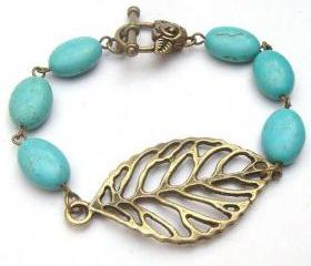 Antiqued Brass Leaf Green Turquoise Bracelet