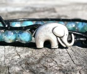 Elephant Bracelet, Good Luck Elephant, Blue Green Czech Glass Beads, Christmas Gift