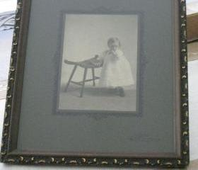 Framed Baby Photo Vintage Wood & Gilt Frame 1930s