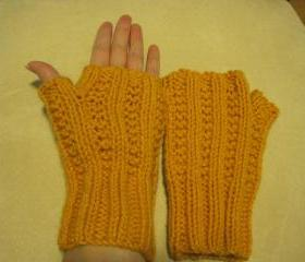 Knit fingerless mittens -unisex - -bronze (G8) Sorry - SOLD