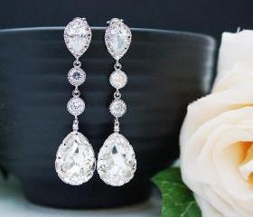 Wedding Bridal Jewelry Bridal Earrings Bridesmaid Earrings Clear White Swarovski Crystal and Cubic Zirconia Tear drops