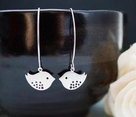 Modern Jewelry Modern Earrings Dangle Earrings Matte cute bird charms Earrings . For Her. Gift for Her . Gift Under 20