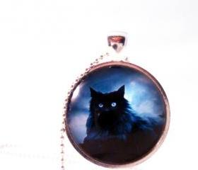 Black cat- glass pendant necklace
