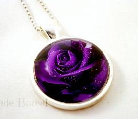 Purple rose glass pendant necklace