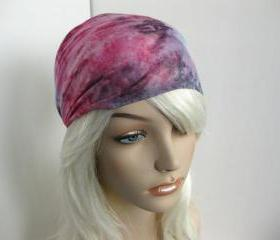 Tie Dye Headband Head Wrap Dreadband Womens Hippie Bandana Colorful Purple Green and Pink Cotton Fabric