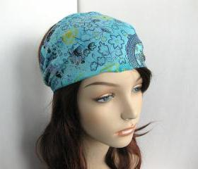Boho Headband Head Wrap Dreadband Womens Hippie Bandana Blue Teal Yellow Black Cotton Fabric