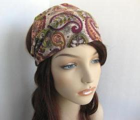 Paisley Bandana Head Wrap Dreadband Women's Headband Earthy Colors Fashion Hair Accessory Cotton Fabric