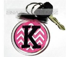 Personalized Chevron Initial Acrylic Key Chain