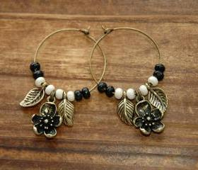Cherry Blossom Brass Charms Dangle Earrings