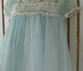 Sweet Vintage Pale Blue & Ivory Baby Dress With Slip 1950s Made in USA