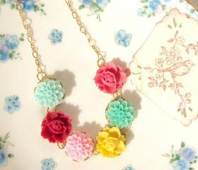 Katherine - Flower Necklace 16k Gold