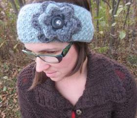 Winter Headwrap / Ear warmer Blue and Gray with Button Closure