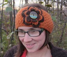 Winter Headwrap / Earwarmer Pumpkin and Brown with Button Closure