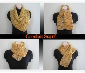 Crochet Scarf, Cowl, Neckwarmer, Halter top - topaz (SC4)