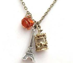 Antiqued Brass Eiffel Tower Carrousel Flower Necklace