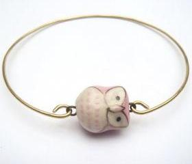 Brass Pink Porcelain Owl Bracelet