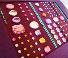 BEDAZZLING - Handmade Purple Journal - Coptic Binding - Girly Rhinestone Beaded Blank Book - Free Shipping