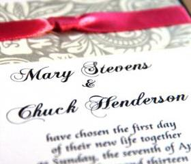 Pocket Wedding Invitation - Invite and RSVP Card Sample - For Budget Bride - 1 Dollar Per Set - FREE SHIPPING