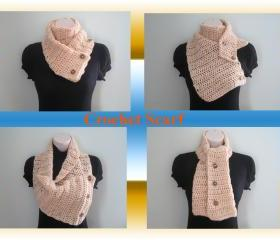 Crochet Scarf, Cowl, Neckwarmer - beige (SC5)