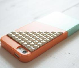 iPhone 5 case - Color Block Case - Green Orange / Silver studs