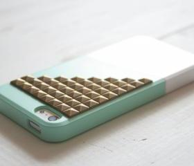 iPhone 5 case - Color Block Case - Mint Deep / Bronze studs