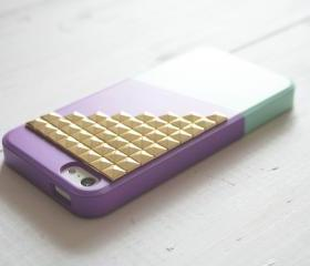iPhone 5 case - Color Block Case - Purple Mint / Gold studs