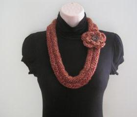 Necklace, Neck warmer, crochet & knit - driftwood (NL5)