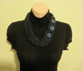 Necklace, Neck warmer, crochet - deep sea (NL6)