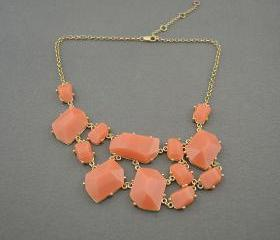 Orange bubble necklace,holiday party,bridesmaid gifts,Beaded Jewelry,wedding necklace,turquoise color necklace