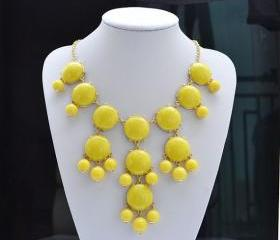 Yellow bubble necklace, Bib Statement Necklace, holiday party,bridesmaid gifts, Beaded Jewelry, wedding necklace
