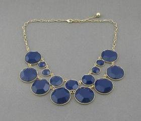 Sapphire bubble statement necklace,holiday party,birthday,bridesmaid gift,Beaded Jewelry,wedding necklace