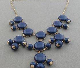 navy blue smooth bubble necklace,holiday party,birthday,bridesmaid gift,Beaded Jewelry,wedding necklace