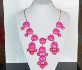 Rose Color bubble necklace, Bib Statement Necklace, holiday party,bridesmaid gifts, Beaded Jewelry, wedding necklace