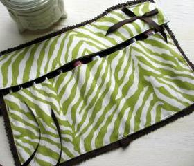 One of a Kind Handmade Green and Brown Zebra Print Knit Lace Trimmed Makeup Brush Roll/ Paint Brush Roll
