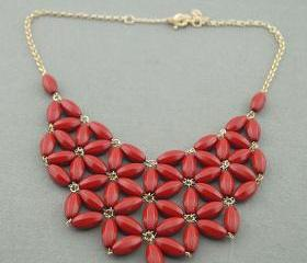 Red Bubble necklace, handmade bib Necklace/Statement Bubble Necklace,bridesmaid gifts,Beaded Jewelry