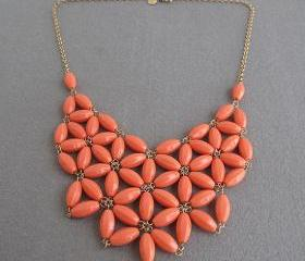 Orange Bubble necklace, handmade bib Necklace/Statement Bubble Necklace,bridesmaid gifts,Beaded Jewelry