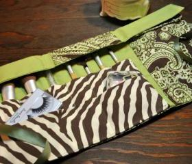 Handmade Couture Green Paisley and Zebra Print Makeup Brush and Cosmetics Fold up Case, Eye Makeup Case