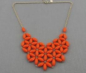 Orange-red Bubble necklace, handmade bib Necklace/Statement Bubble Necklace,bridesmaid gifts,Beaded Jewelry