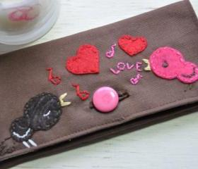 One of a Kind Handmade Embroidered Love Birds Appliqued Duck Cloth Ladies Wallet and Checkbook Holder