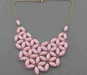 Pink Bubble necklace, handmade bib Necklace/Statement Bubble Necklace,bridesmaid gifts,Beaded Jewelry