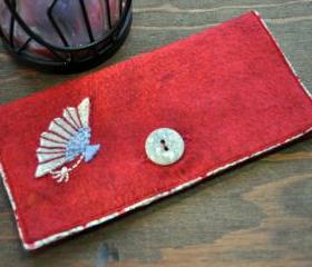 One of a Kind Handmade Embroidered Fan Appliqued Felt Ladies Checkbook Holder/Wallet