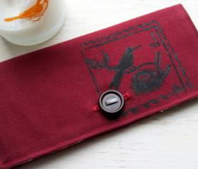 One of a Kind Hand Painted Bird and Nest Postage Stamp Limited Edition Journeyers Series Burgundy Duck Cloth Wallet