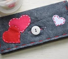 One of a Kind Handmade Embroidered Hearts Appliqued Grey Felt ladies Wallet and Checkbook Holder