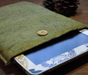 One of a Kind Handmade Green Felt Padded iPad, Tablet Sleeve/Case Plus Free Matching iPhone, Smartphone, Android Sleeve