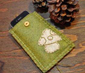 One of a Kind Handmade Mushroom Embroidered Green Felt iPhone, Smartphone, Android Sleeve/Case