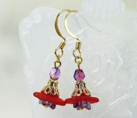 Petite Red Lucite Flower Earrings