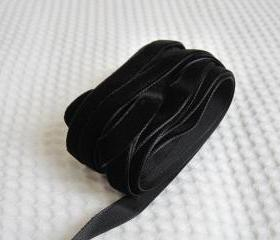 3 Yards Black Velvet Ribbon 3/8 inch - 21