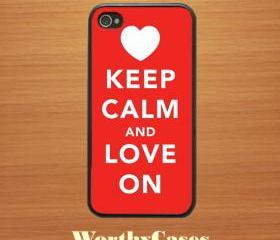 iPhone 4 case, iPhone 4s case, case for iPhone 4 mobile case handmade : keep calm and love on iPhone 4 Case