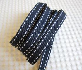 "3 Yards Saddle Stitch Grosgrain Ribbon 3/8"" - Navy"