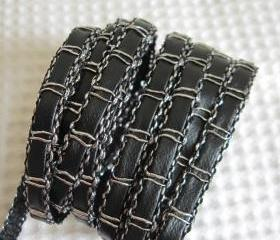 2 Yards Chain Like Faux Leather Trims In Silver Thread 1/4 inch